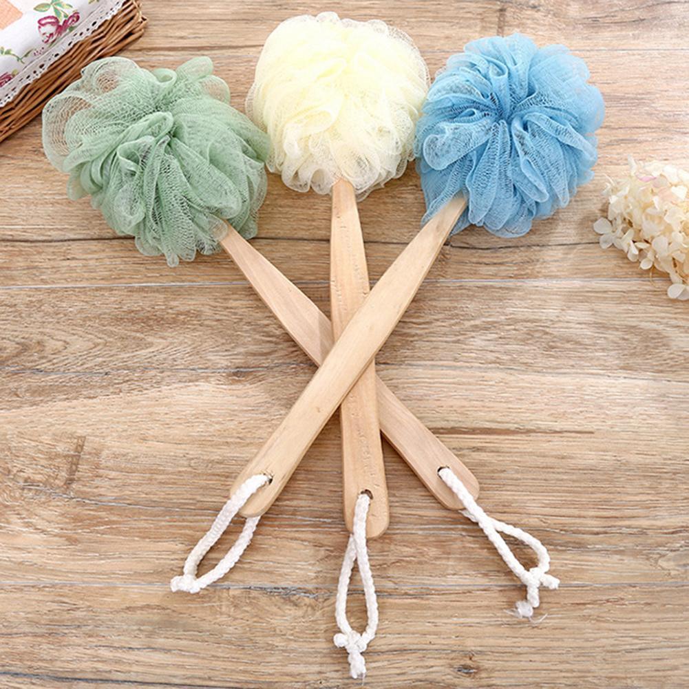 1PC Fashion Wooden Long Handle Bath Brush Soft Nylon Mesh Back Shower Brush Scrubber Shower Body Massager Body Cleaner Tools
