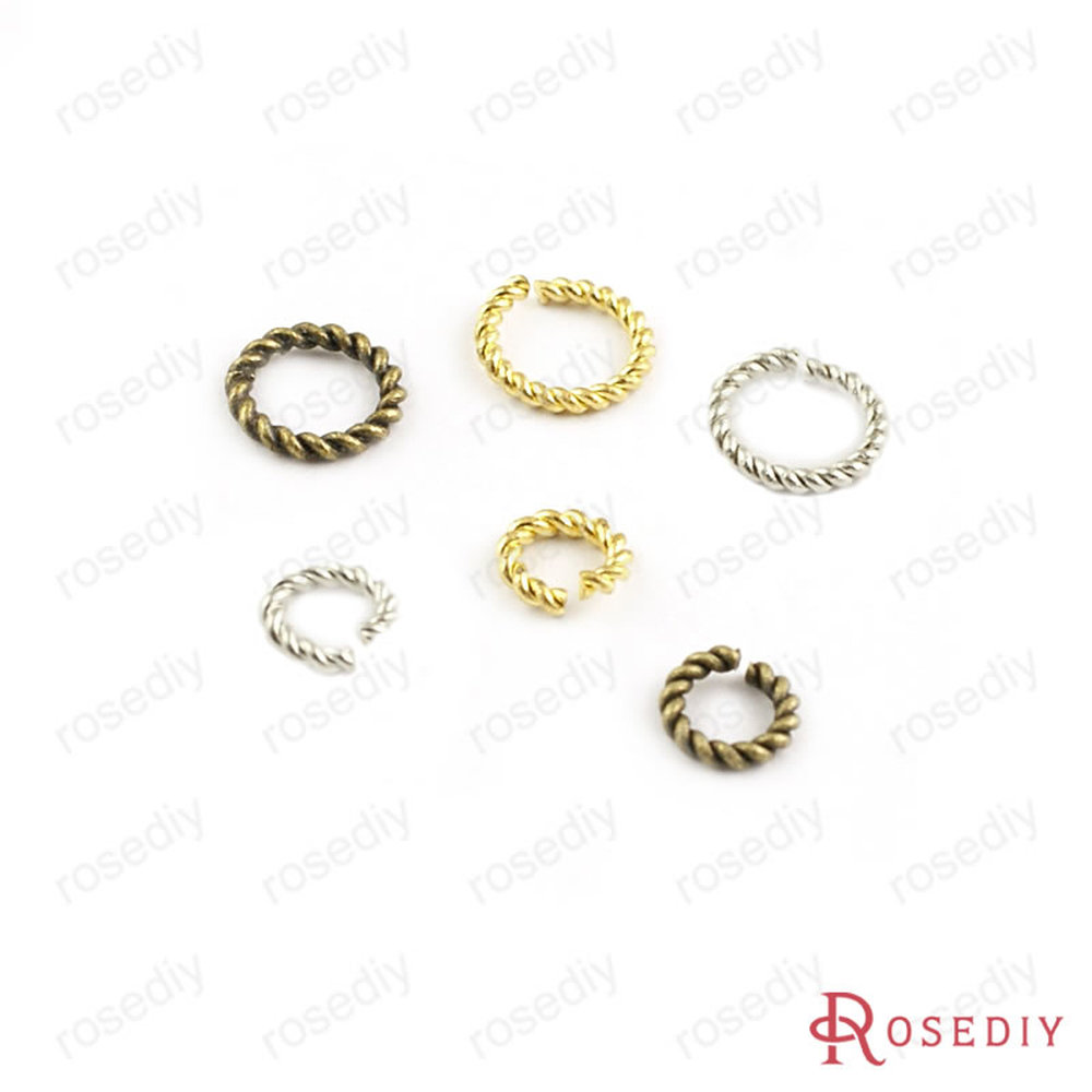 50 Pieces Out Diameter 5mm 6mm 8mm Thickness 1.2mm Antique Bronze / Gold / Silver Color Round Copper Twist Rings (JM4540)