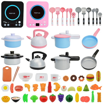 46PCS Pretend Play Toys for Children Miniature Doll Food Kitchen Set for Kids Girl Simulation Kitchen Toy Educational Toys