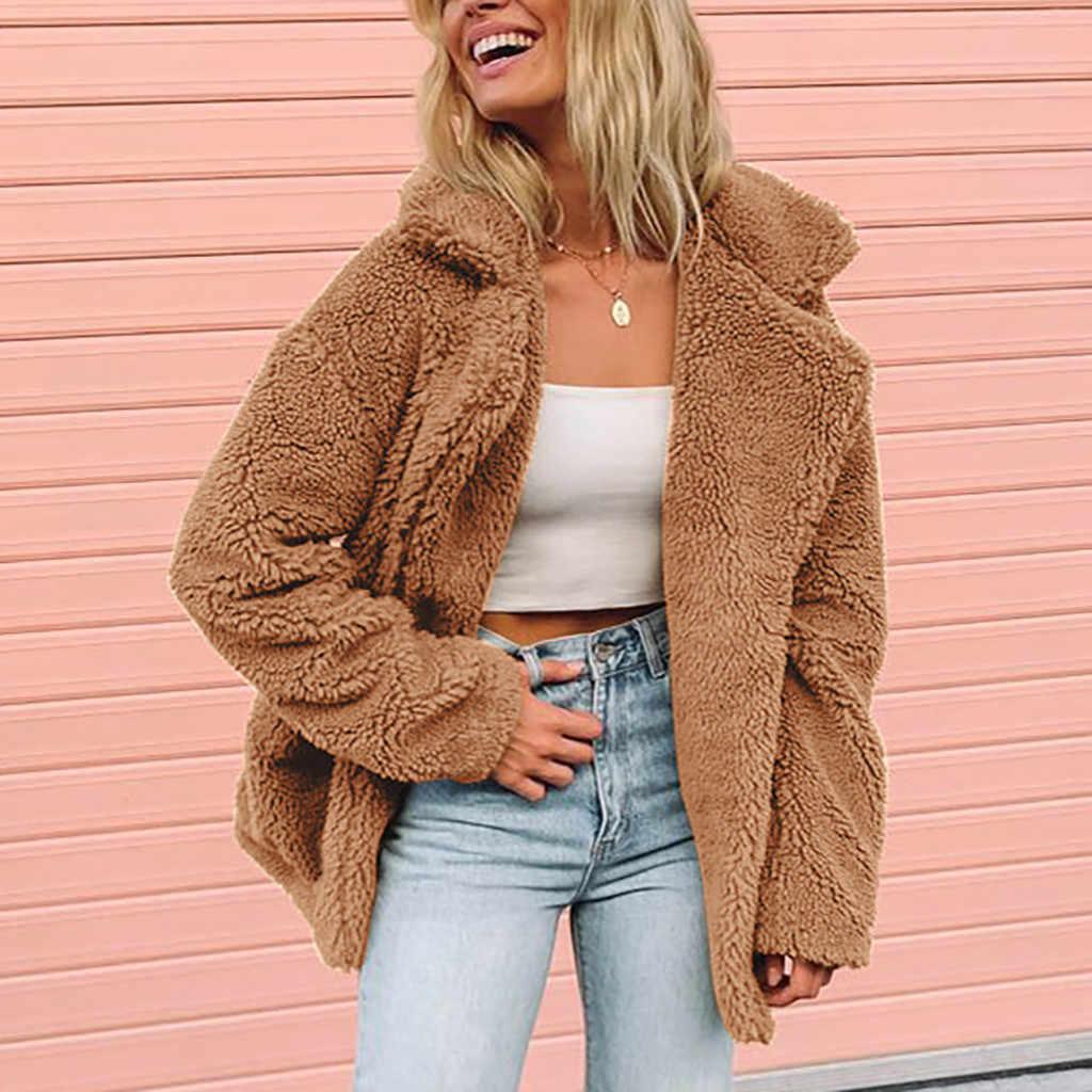 Warm Faux ขนสัตว์ฤดูหนาวเสื้อผู้หญิง 2019 แฟชั่นหนา Warm Coat Lady Parka jaqueta ฤดูหนาวเปิดลงคอ Jaqueta Feminina