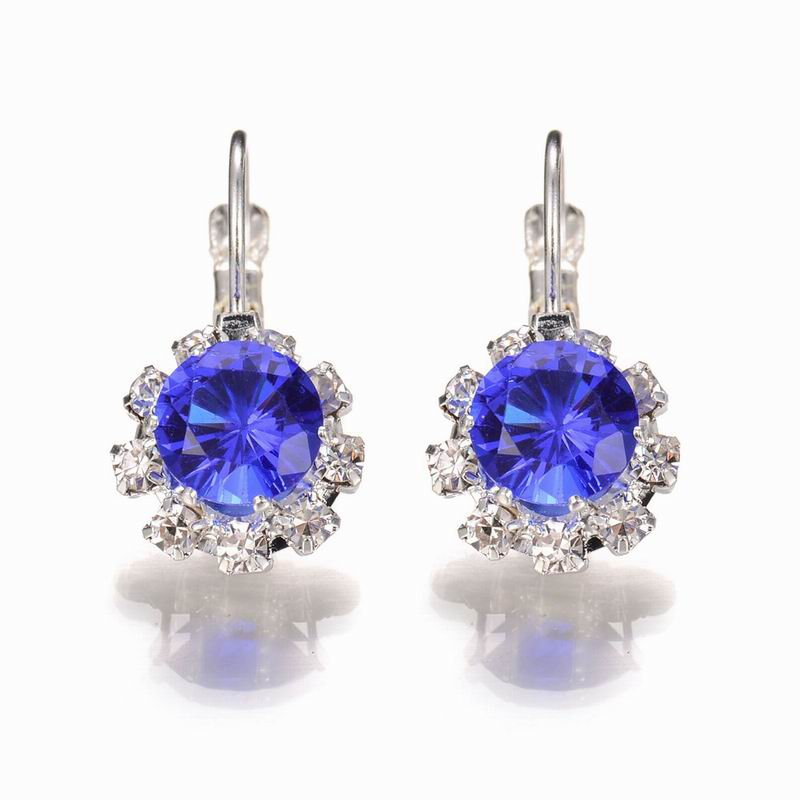 Trendy Crystal Drop Earrings For Woman Inlay Zircon Silver Plated Small Round Dangle Ear Fashion Woman Earrings Jewelry Brincos