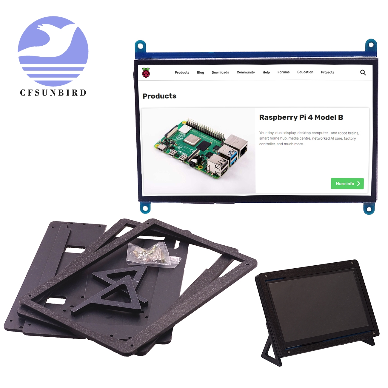 HDMI Holder Monitor Lcd-Display Touch-Screen Raspberry Pi TFT 3-Model-B 1024--600 7inch