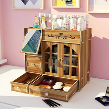 Cosmetic Storage Box With Mirror Wood Rack Drawer Type Large Capacity Simple Dressing Table Multilayer Skin Care Product Rack