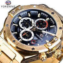 Forsining Men Mechanical Watches Automatic Golden Calendar Business Steel Clock Military Sport Male Wristwatch Relogio Masculino