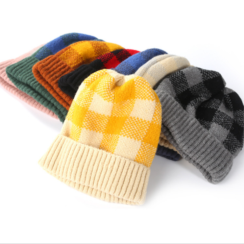 Knitted Cap Plaid Beanie Hats Women Winter Warm Kids Headwear Unisex Classic Wraps Parent-Child-Cap