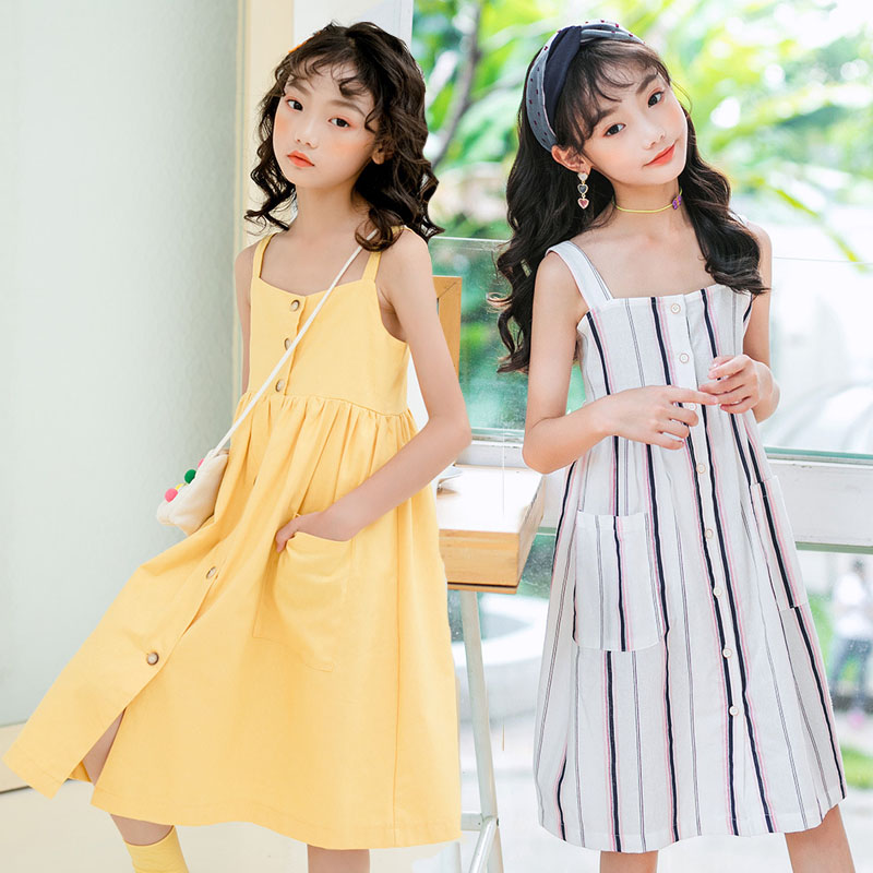 Kids Clothing Teen Girls Princess Dress Shoulderless Summer 2020 Sling Dress Kids Dresses for Girls Clothes Kids Costume 12 13 Y