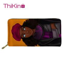 Thikin Afro American Princess Black Girl Zipper Phone Bag Card Holder for Ladies Clutch Purse Carteira Handbags Notecase 2019