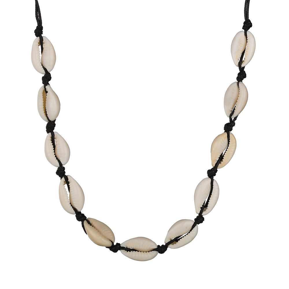 Yiustar Boho Schwarz Seil Kette Muschel Halskette Frau Ozean Strand Muscheln Halsband Kette Halskette Natürliche Shell Mädchen Geschenke