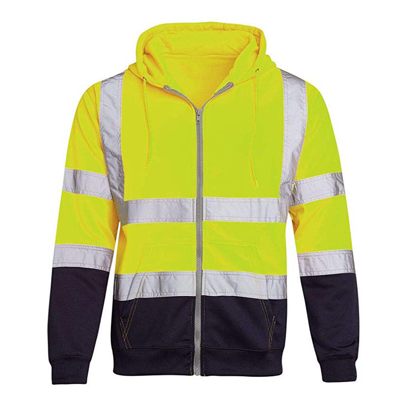 2020 Workwear Fleece Reflective Sweatshirts Hoodie Man Jacket Zipper Winter Hoody Sweatshirts Male Reflective Hoodies For Men