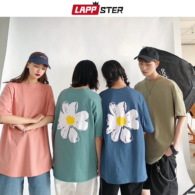 LAPPSTER Men Flower Colorful Tshirts 2020 Summer Graphic Women Kpop Loose Tops Tees Male Japanese Streetwear Harajuku Clothing