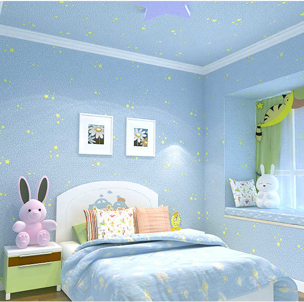 Export Quality American-Style Children Mediterranean Blue Star Wallpaper Baby Bedroom Non-woven Wallpaper