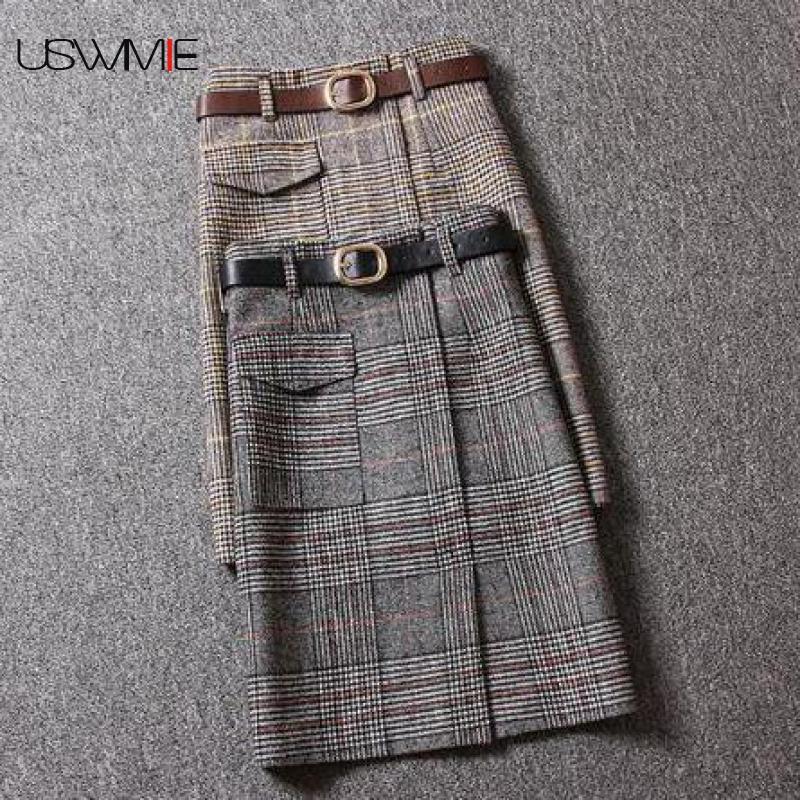 Spring Autumn Plaid Women Wool Skirts Fashion Vintage Slim Lady Elegant Straight Skirts Casual Streetwear Female Bottoms Skirt
