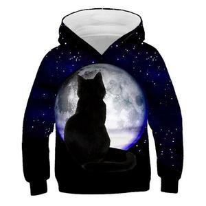 Image 3 - 3D Kitty Print Hoodie Pullover Style Cat Print Tide Sweater Kids Sweatshirt Fashion Boys and Girls Casual Hoodie