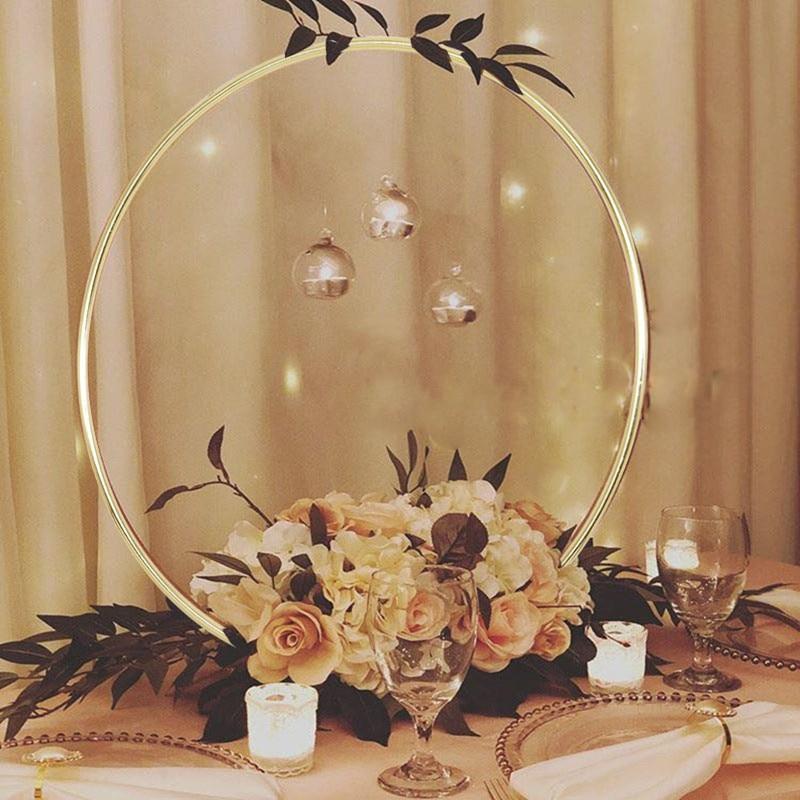 10-40cm Wedding Wreath Gold Iron Metal Ring Bride Handheld Garland Easter Decor Artificial Flower Rack Party Backdrop Decor Hoop