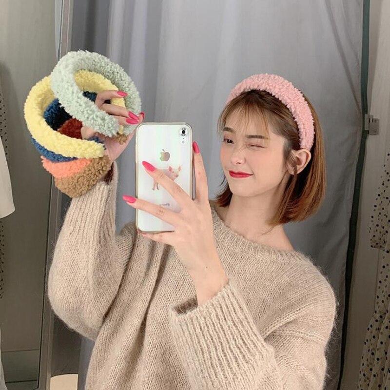 Warm Lamb Hair Hoop Ins Candy Color Wide-Brimmed Headband Fuffy Hairpin Hair Band Korean Hair Accessories