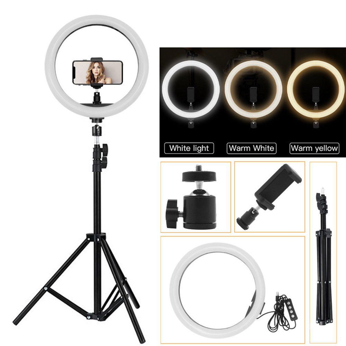 10 Inch Dimmable LED Ring Light Tripod USB Port Phone Camera Photo Selfie Live Light Stand Stepless Adjustment Fill Lights