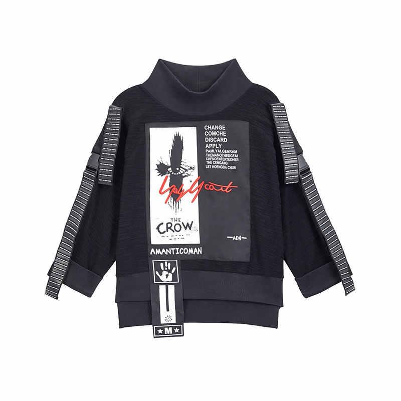 XITAO baskı mektubu desen T-shirt kadın moda yeni kazak Patchwork balıkçı yaka vahşi Joker düz 2019 sonbahar Tee ZLL4239