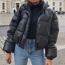 Chaqueta de cuero de imitación para mujer, abrigo grueso y cálido, chaquetas de piel sintética negra a la moda, Tops elegantes con cremallera, chaqueta acolchada