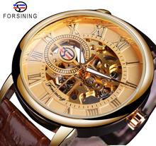 Forsining Classic Mens Mechanical Watches Skeleton Golden Roman Ultra-Thin Hand Wind Business Dress Gentleman Leather Wristwatch ailang classic roman number women business dress watches auto self winding real leather wristwatch calendar relojes 3atm nw7192
