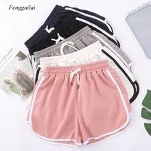 Short-Pants Elastic-Waist Women Casual Summer Binding Hot Beach Contrast Patchwork Blend