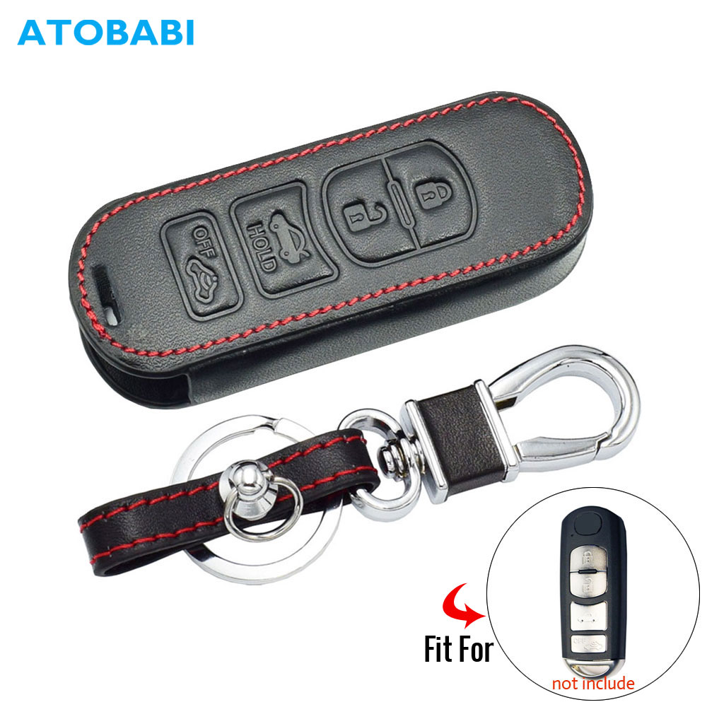 Leather Car Key Cover For <font><b>Mazda</b></font> <font><b>CX</b></font>-7 <font><b>CX</b></font>-<font><b>9</b></font> MX-5 Miata 4 Buttons Smart Remote Fob Shell Protect Case Keychain Keys Bag <font><b>Accessories</b></font> image