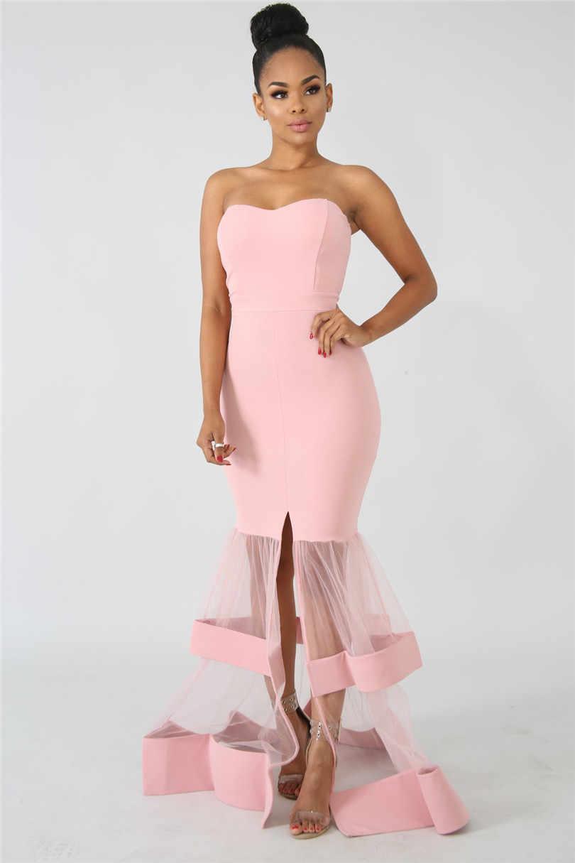 Phụ Nữ Dài Đầm Dự Tiệc Tối Ống Gợi Cảm Đầm Maxi Voan Lưới Miếng Dán Cường Lực-Thanh Lịch Trọn Gói Hông Dán Áo Dây Màu Vàng Hồng Femme mùa Hè
