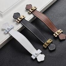 128 мм мебельные ручки белые кожаные для ящиков шкафа кухонного