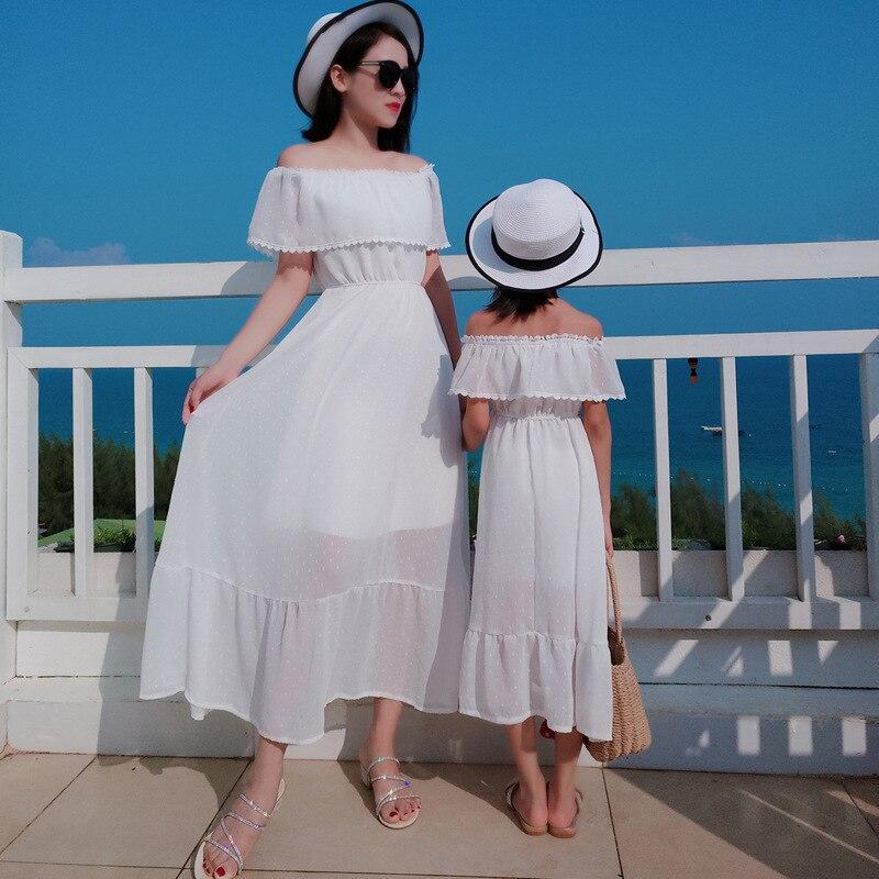 PPXX Summer Girl Dress Chiffon Ruffle Women Mexi Dress Wedding Mother Daughter Dress Family Matching Outfits Beach Family Look