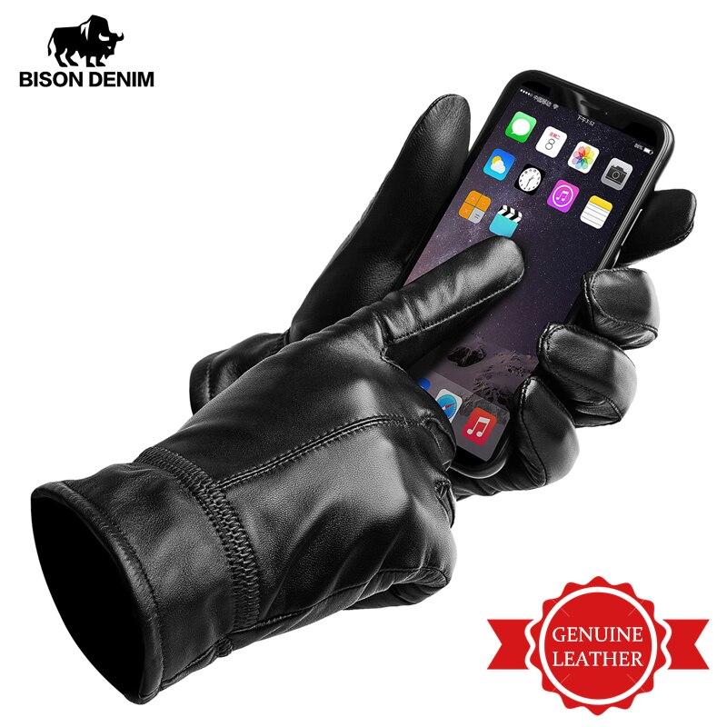 BISON DENIM Men's Genuine Leather Gloves Touch Screen Sheepskin Warm Mittens NEW Winter Quality Male Warm Fluff Gloves S003