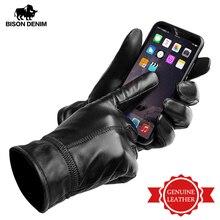 BISON DENIM męskie oryginalne skórzane rękawiczki z ekranem dotykowym kożuchy ciepłe rękawiczki nowa zimowa wysokiej jakości męskie ciepłe rękawiczki Fluff S003