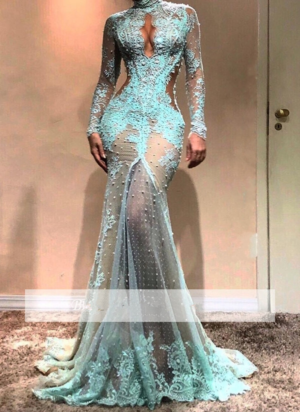 Turquoise   Prom     Dress   2019 Mermaid Long Sleeves Tulle Lace Pearls See Through Long   Prom   Gown Evening   Dresses   Robe De Soiree