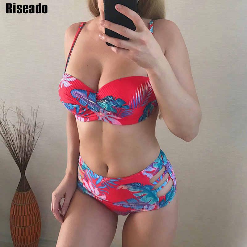 Riseado Sexy Push Up Bikinis ensemble maillots de bain femmes taille haute maillots de bain feuille imprimé Biquini Bikini 2020 découpé vêtements de plage