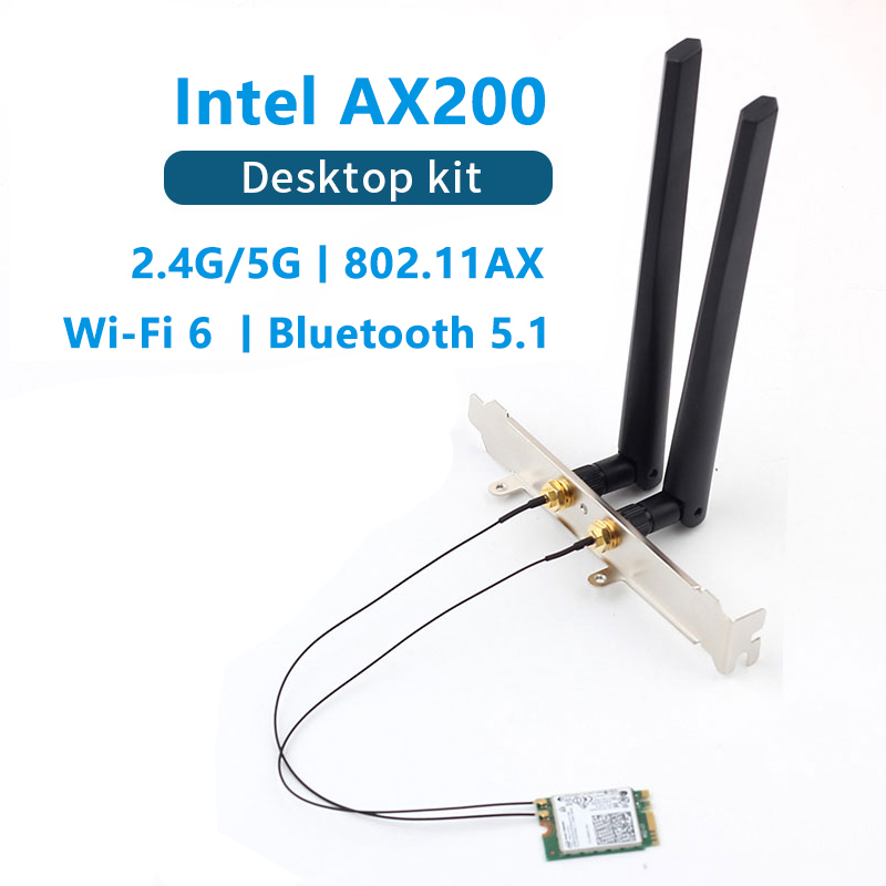 Dual band 3000Mbps Intel AX200 Wi-Fi 6 M 2 Desktop Kit 2 4G 5G Bluetooth 5 0 802 11ax ac AX200NGW Wireless Card Adapter Antenna
