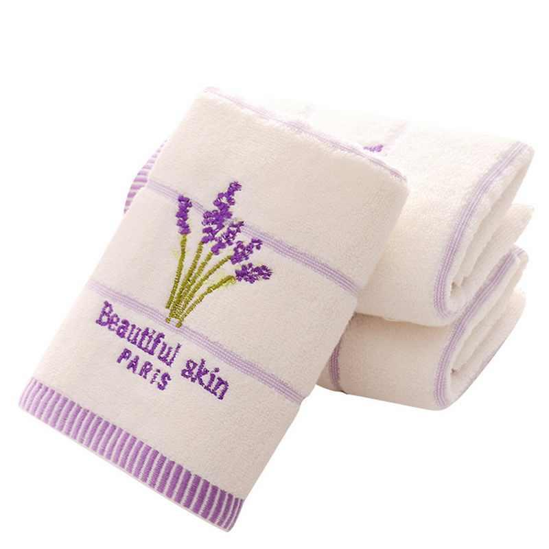 1 Pza bordado lavanda toalla superabsorbente toallas cara algodón Toalla de baño para adultos