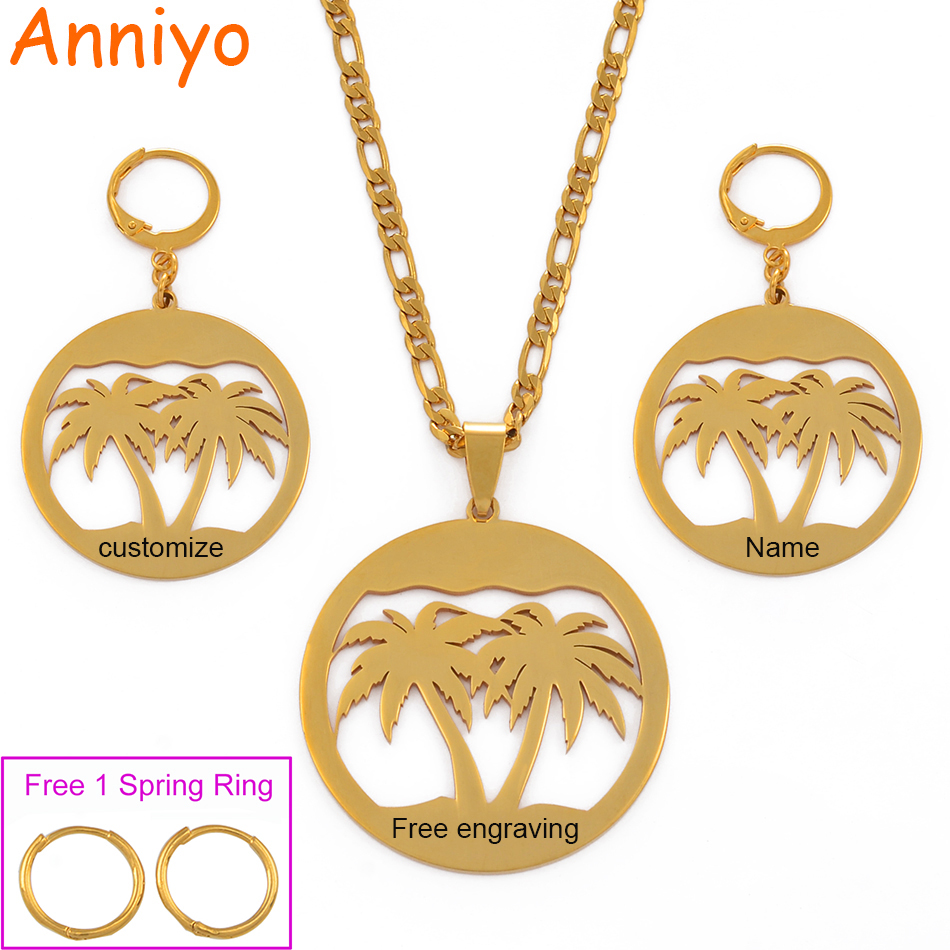 Anniyo Engrave Custom Names Free Coconut Tree Jewelry Sets Necklaces Big Earrings Guam Hawaiian Customize Letters #078721Z