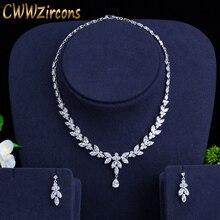 CWWZircons brillant cubique Zircon fête Costume collier boucles doreilles mariage bijoux de mariée ensembles robe accessoires T326