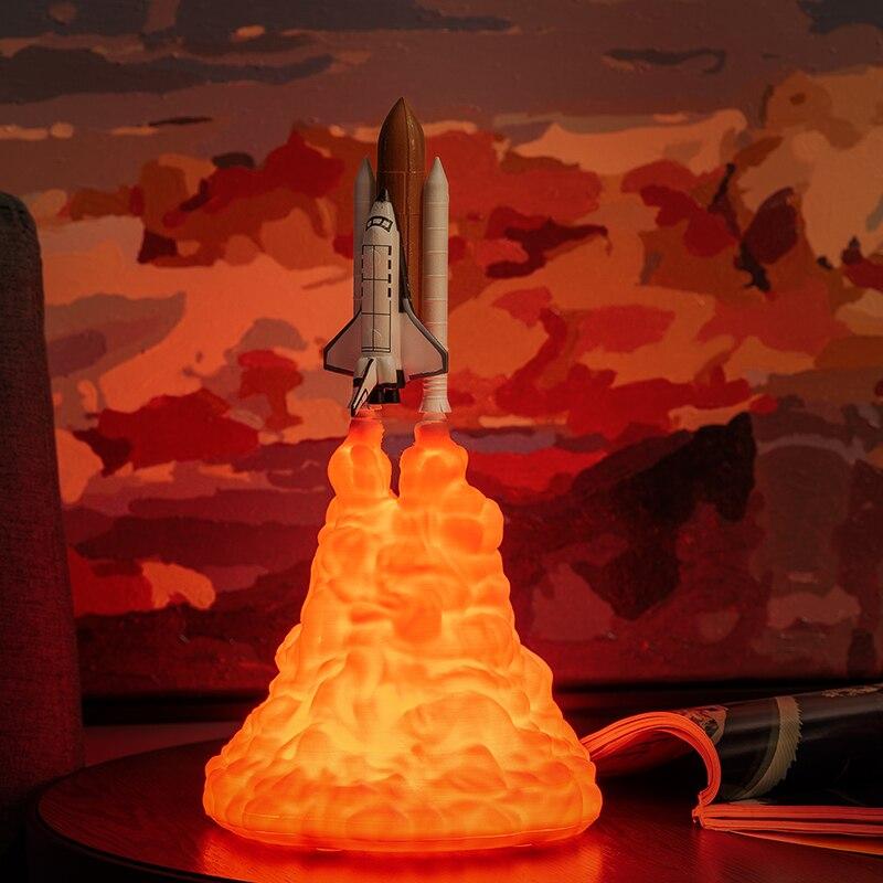 2019 Neue Dropshipping Raum Shuttle Lampe und Mond lampen In Nacht Licht Durch 3D Druck Für Raum Liebhaber Rakete Lampe