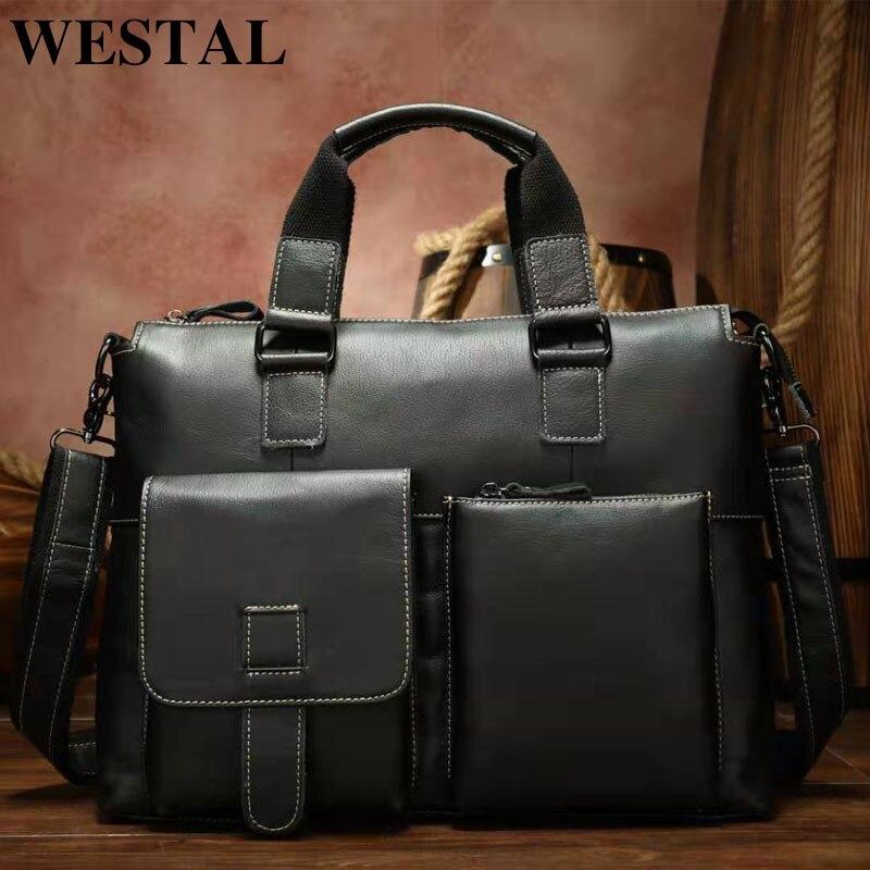 WESTAL sac pour hommes en cuir véritable Messenger sac hommes en cuir porte documents pour ordinateur portable sacs à bandoulière homme sacs à main sacs à bandoulière pour hommes    1