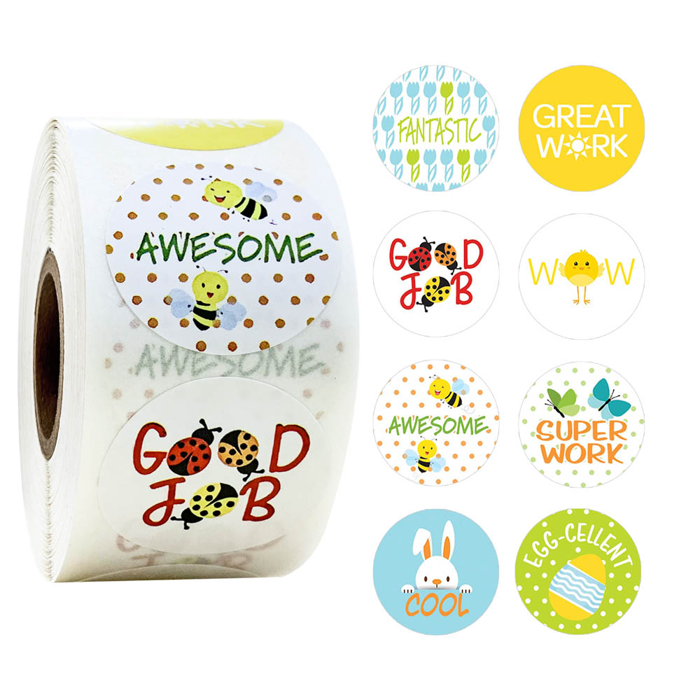 500 Pcs/roll Teacher Reward Stickers For Children (Spring Theme) For Students Teachers Classroom Use Kids Toys Stickers