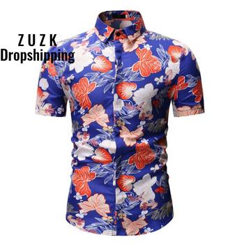 New Men's Short Sleeve Hawaiian Shirt Summer Style  Men Casual Beach Hawaii Shirts Fit Slim Male Blouse Summer Top men shirt summer new casual slim fit short sleeve hawaii shirt quick dry printed beach shirt male top blouse hawaiian shirt men