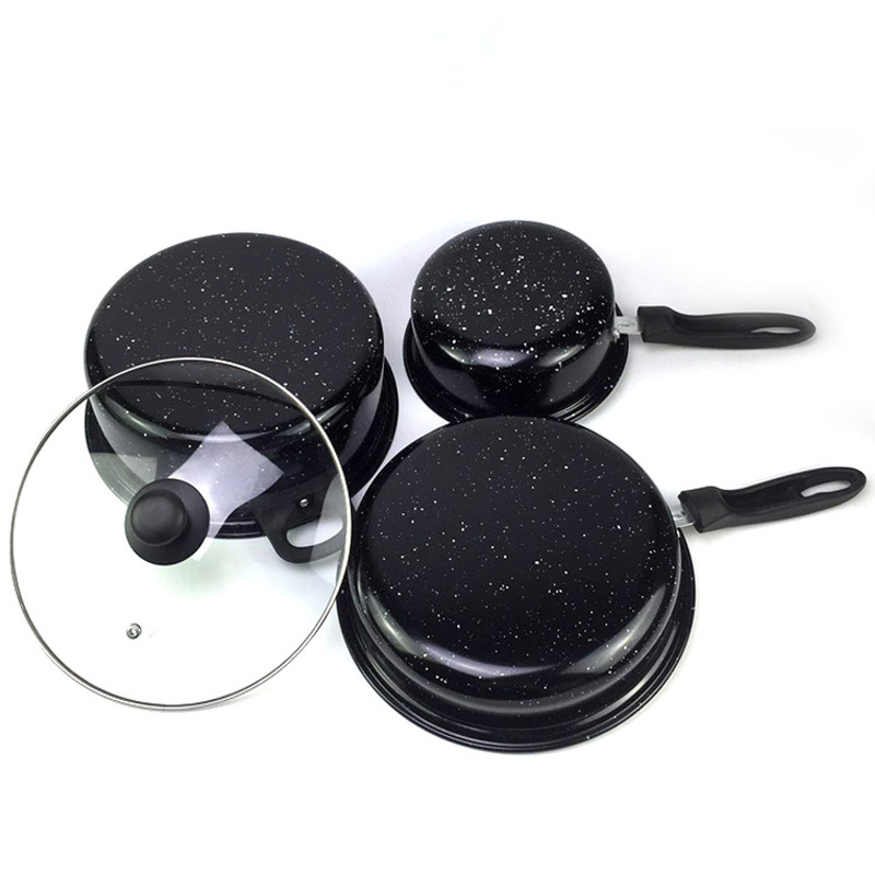 Pans 4Pcs/Set Non-stick Frying Pan Casserole Medical Stone Coating Chef's Pans With Heat Resistant Handle For Gas & Incuction