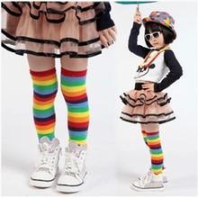 Зимний утеплитель для ног для маленьких девочек, милые хлопковые носки в радужную полоску