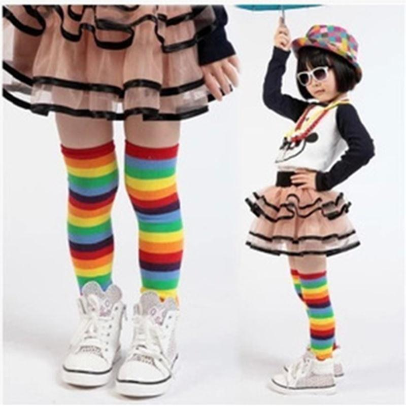 Baby Toddler Kids Girl Winter Leg Warmer Cotton Cute Rainbow Stripes Socks