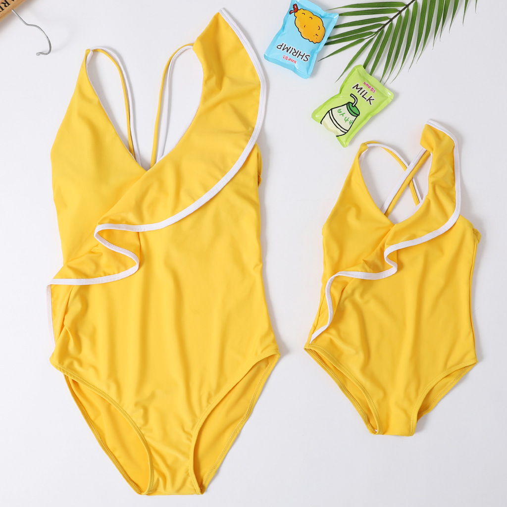 Ruffled One-Piece Bath Suits Mother Daughter Swimwear Mommy And Me Swimsuit Family Matching Clothes Look Mom Baby Bikini Dresses