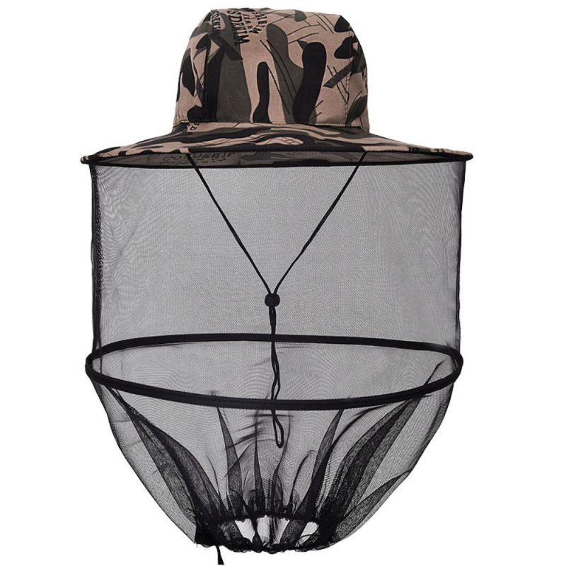 Outdoor Survival Anti Mosquito Bug Bee Insect Mesh Hat Head Face Protect Net Cover Travel Camping Beekeeping Hat