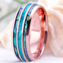8mm Fire-Opal and Abalone Shell Tungsten Carbide Rings Wedding Bands for Women Comfort