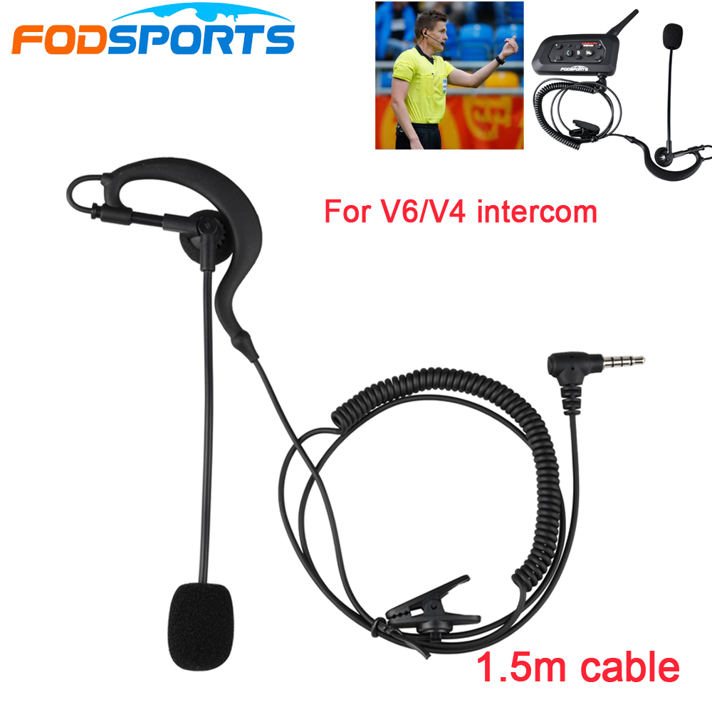 1pc Fodsports <font><b>V6</b></font> Earhook Earphone <font><b>Headphone</b></font> & Microphone Suit for <font><b>V6</b></font> V4 <font><b>Bluetooth</b></font> Intercom Football Referee Judge Biker image