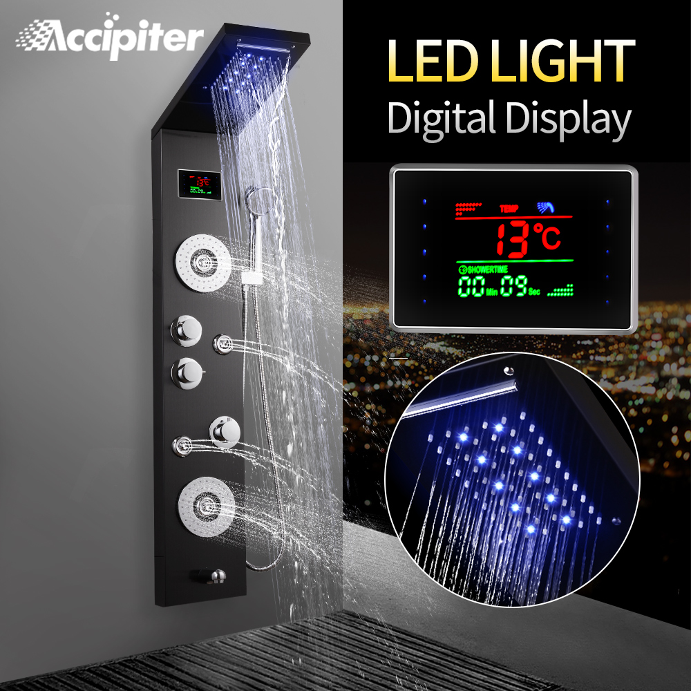 Wall Mounted Shower Panel 4 Function Waterfall Rainfall Massage Jets Shower Set With Handle Shower With LED