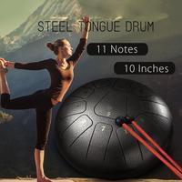 10Inch Steel Tongue Drum Handpan D Major 11 Notes Hand Tankdrum Bag Mallets Set