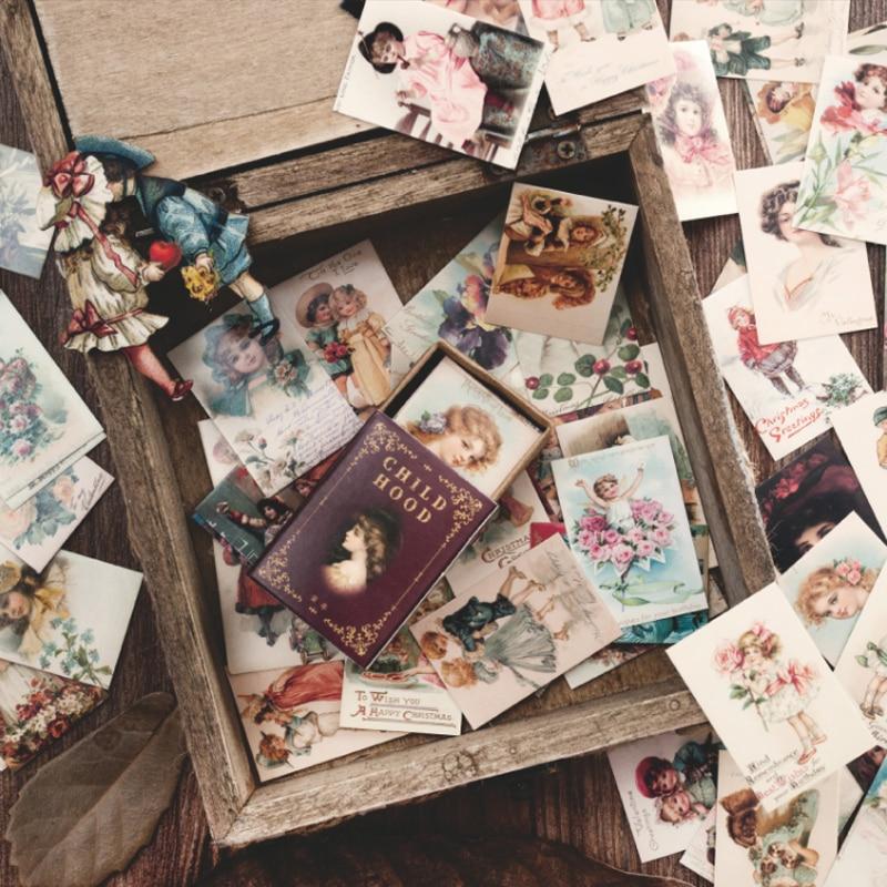 100 штук/кор. винтажная Европейская печать мини-карта для сообщений, праздничная открытка, подарок для детей, школьные принадлежности
